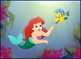 Little Ariel and Baby Flounder by madam-marla