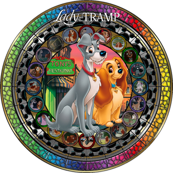 Masterpiece Lady and the Tramp Stained Glass by Maleficent84