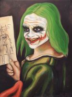 Young Joker Holding a Drawing by HillaryWhiteRabbit