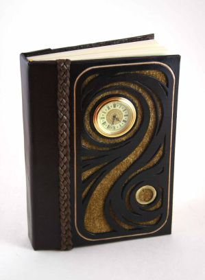 Gold Swirl Leather Journal by McGovernArts