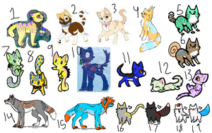 1 point each old adopt clearout by chai-kitty
