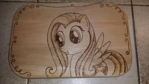 Fluttershy Wood Board by XTorbenX