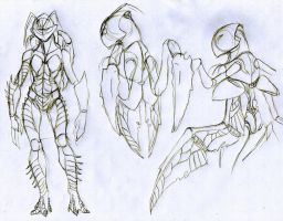 Sketch shrimp female body by Drakoniawar