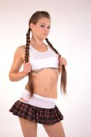 Schoolgirl Pulling on Braids Pin-up by DenH2oson