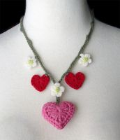 Crochet Valentine's necklace by meekssandygirl