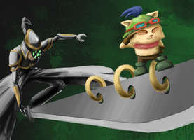 Commission - Master Yi and Teemo by Geartap