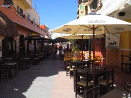 sidewalk cafe, isle of mujeres by bipolargenius
