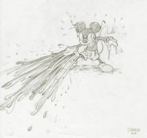Epic Mickey Attacking, sketch by Hamilton74