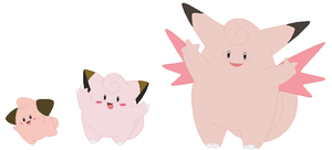 Cleffa, Clefairy and Clefable Base by SelenaEde