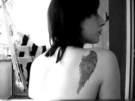 angel wing tattoo by mikchan