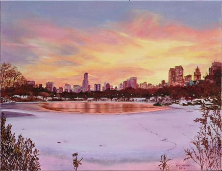 Central Park in winter at dusk by Agapanthea