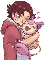 eiji and skitty. by inazumaookami