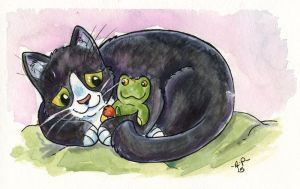 Kitty and Frog by artyewok