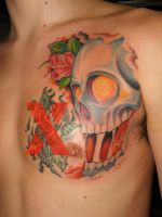 skull and rose by jodea