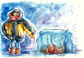 It's me and my frozen dog by Drahiny