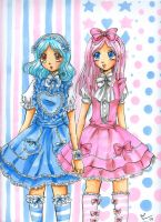 Pink and Blue Lolita Girls by Tamao