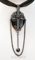 Long gothic black grey pendant by ukapala