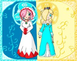 white mage and rosalina by ninpeachlover