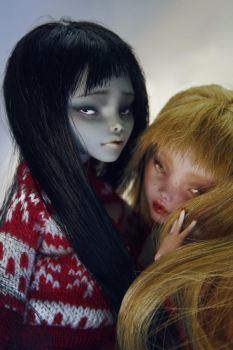 Sophie and Ruby - Monster High dolls OOAK repaint by Szklanooka