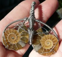 Ammonite Fossil Wire Wrap Pendant by Eviecats