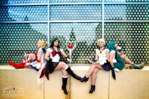 Sailor Moon and Outer Senshi by monochrome-tea