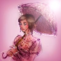 Sibyl with umbrella by Fidi-s-Art