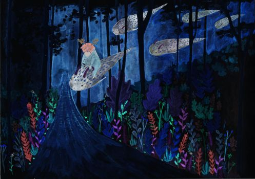 Spirit Forest at Night by L-i-n-d-s