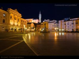 Piran Square by Night by GMCPhotographics