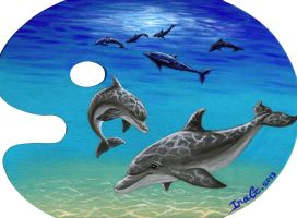 Dolphin palette painting by Nevuela