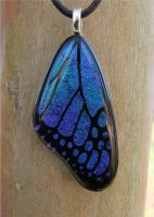 Teal Purple Glass Wing by FusedElegance
