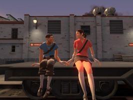 BLU Scout Hangs with RED Female Scout by KingFail17