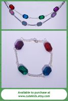 Zelda Glass Rupee Bracelet by cutekick