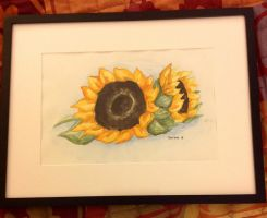 Finished Sunflower Watercolor by LemonPoppySeedMuffin
