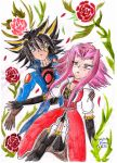 Yusei and Aki in roses by Crystal-Dream