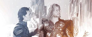 Thor and Loki + speed paint by Brownylai
