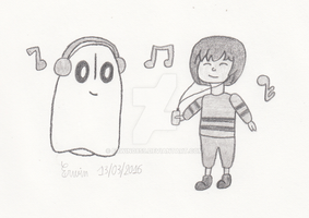 Napstablook and Frisk listening to music by Erwin0859