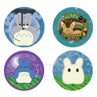 Totoro Buttons by CosmicLabCreations