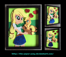 11x14 EqG Applejack and Filly Shadowbox by The-Paper-Pony