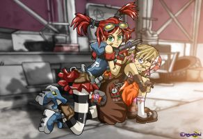 Gaige the Mechromancer + Tiny Tina the Bomb Maker by dreamastermind