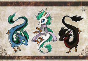 3 Chibi Dragons by Shivita