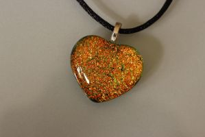 Orange dichroic heart by Dimolicious