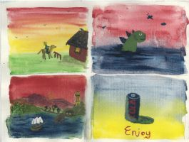 Four Watercolours minis by Poorartman