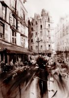 Parisian Crowd - Watercolor by nicolasjolly