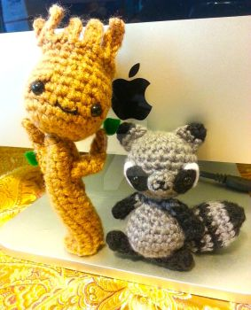 Guardians of the Galaxy Groot Raccoon Amigurumi by Spudsstitches