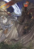 Gandalf vs Nazgul by Meleager