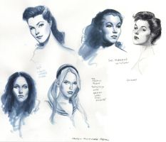 even more watercolor heads by MichaelDooney