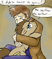 Doctor hugs the Doctor by JitterbugJive