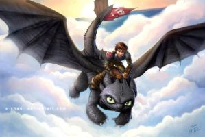 Hiccup and Toothless 2 by X-Chan-