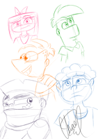 .:PnF Doodles:. by GirlofChaos99999