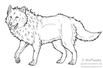 Free LineArt Adult Wolf by StePandy